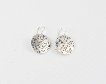 Sterling Silver Round Earrings, Handmade Earrings, Textured Silver Earrings