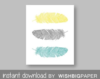 Feather Wall Art Print - Instant Download. Home Art Print. Feather Wall Art.Turquoise Gray Yellow Decor.Turquoise Gray Yellow Print