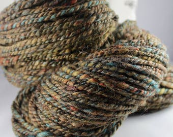 Handspun Yarn Gently Thick and Thin Bulky Two Ply Blue Faced Leicester 'Hold on Tight'