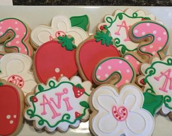 Strawberry Shortcake inspired cookie assortment, one dozen
