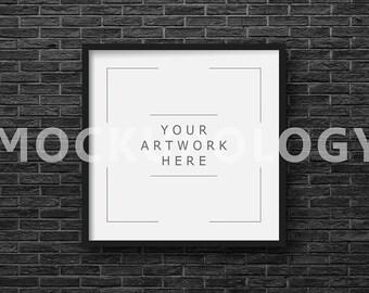 SQUARE Digital Black Frame Mockup, Black Brick Wallpaper Background, Styled Photography Poster Mockup, Framed Art Mockup, INSTANT DOWNLOAD