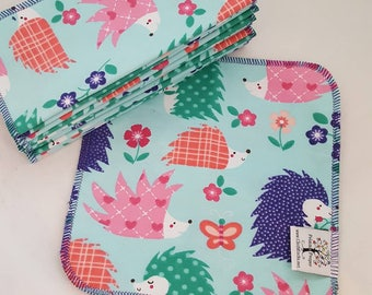 ECO CLOTH WIPES / Set of 12 / Hedgehog Cotton Cloth Wipes