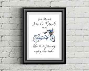 Life is a Journey Enjoy the Ride Sign for a Wedding or Engagement Gift | Personalised Print |
