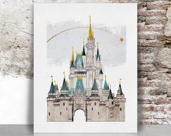 Disney Print Castle Art World Original Illustration Drawing Cinderellas Wall Home Decor FamouStars