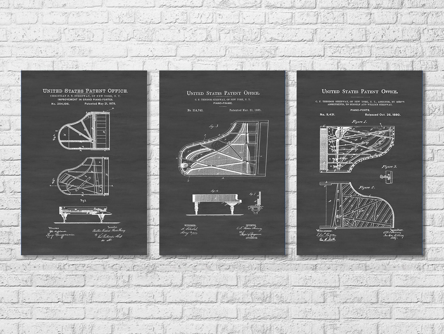 Steinway Piano Patent Collection of 3 Patent Print Wall