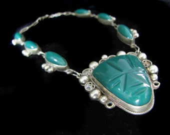 Vintage Taxco Mexico Sterling and Green Onyx Necklace