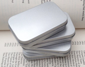 Rectangular Metal Tins, Blank Hinged Tins, Color Silver 50ml Tin Box, Business Card Size, Set Of 6 Tins