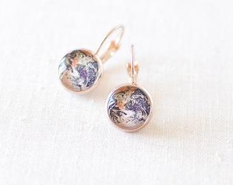 Earth Earrings. World Earrings. Solar System Earrings. World Globe Earrings. Planet Earrings. Rose Gold Glass Dome Earrings. Wanderlust Gift