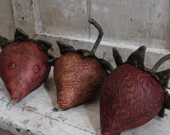 Primitive Strawberry Bowl Fillers, Summer Decoration