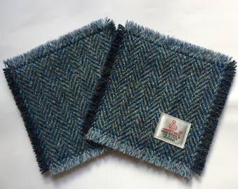 Harris Tweed Coasters Pair in Navy Blue Herringbone - Square