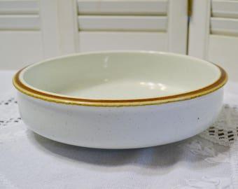 Vintage Mikasa Natural Beauty Serving Bowl Retro Stoneware Beige Speckles Brown Rim Replacement PanchosPorch