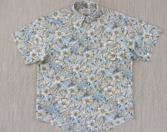 GUESS Hawaiian Shirt Men Floral Print Aloha Shirt by Georges Marciano Never Been Worn Modern Fit 100% Cotton - L - Oahu Lew's Shirt Shack