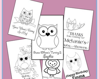 Personalized Owl Coloring Book - Baby Shower or Birthday Party - Emailed To You As a PDF