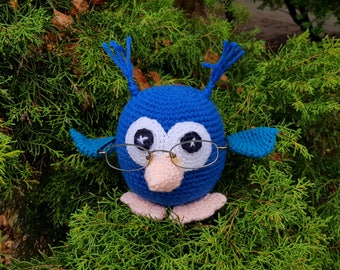 Eye Glasses Holder, Useful Owl, Mothers day gift, Gift for Owls lover, Crochet Blue Owl, Funny Gifts, Nightstand Accessorie, Grandparents