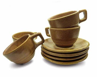 Monmouth Mojave Maple Leaf Coffee Cup & Saucers Rustic Brown Speckled Western Pottery USA Vintage Cottage Chic Stoneware Mugs Vintage 1960s