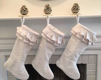 White Matelasse Christmas Stocking Linen Chenille Ruffle Girl