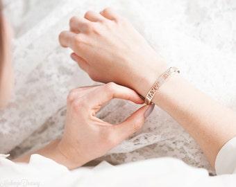 Roman Numeral Bracelet – Roman Numeral Cuff Bracelet – Roman Numeral Bangle – Wedding Date Bracelet – Number Bracelet