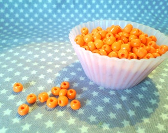 10 g of seed beads 3 mm 8/03 orange opaque