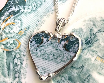 Antique teal English Transferware - Broken China Jewelry heart pendant necklace - ivy vine - recycled china, Dishfunctional Designs