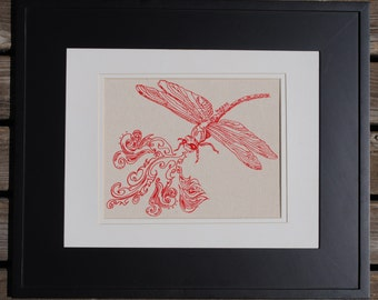 Red Dragonfly Wall Decor Print - Wall Art for Nursery - Art for Girls Room - Wall Decor for Kitchen - Bachelorette Gift - Bridesmaid Gift