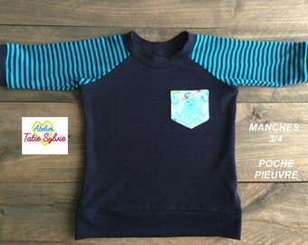 Scalable bamboo Navy/turquoise 3/4 sleeve sweater