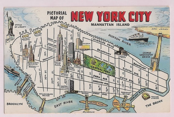 Items similar to New York City Map Manhattan Island 1960s NYC