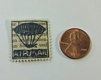 """Airship """"Airmail"""" Relief-Printed Artistamp/faux postage stamp"""