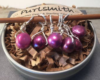 Elderberry Freshwater Pearl & Sterling Silver Stitch Markers for Knitting,Set of 6,Knitting Notions, Gift for Knitter