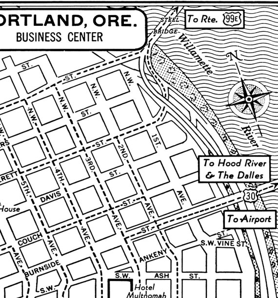 1949 vintage map of downtown portland oregon blueprint map 1949 vintage map of downtown portland oregon blueprint map print poster malvernweather Choice Image