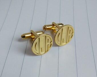 Engraved Monogram CuffLinks,Groom Wedding Gift,Gold Men CuffLinks,Wedding Cufflinks,Gift for Fathers Day