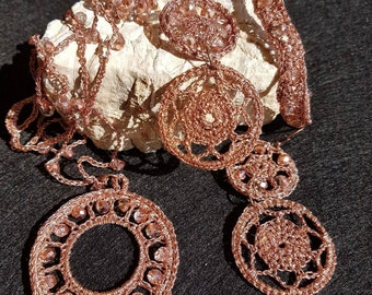 Necklace, earrings, bracelet, crochet cotton rose gold ring with crystals. Crochet jewelry.