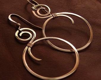 Silver Dangling Hoops