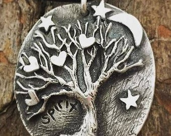 Fine Silver - Moon & Stars Tree of Life Necklace