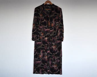 Vintage Oversized Silk Abstract Print Long Sleeve Shirtwaist Button Up Pleated Skirt Shift Dress