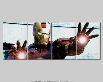 Iron Man 4 Panel Stretch Canvas nTych Print (Signed and Dated)