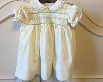 Sz 9/12 mo Vintage Smocked Dress