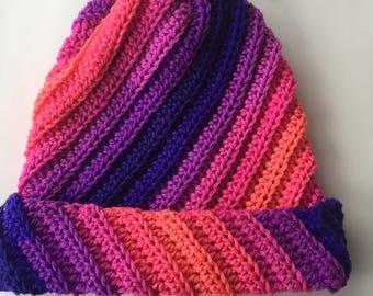 Womens Boutique Quality Hat, Crochet Slouchy Beanie, Super Soft Winter Hat, Textured Beanie,  Winter Tam, Adjustable Ski Hat