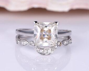 Moissanite Ring Set 8mm Princess Cut Moissanite Engagement Ring Half Eternity Diamond Matching Band Curved Ring Bridal Set 14K White Gold