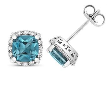 9ct Gold 0.16ct Diamond & Cushion Cut London Blue Topaz 6mm Stud Earrings