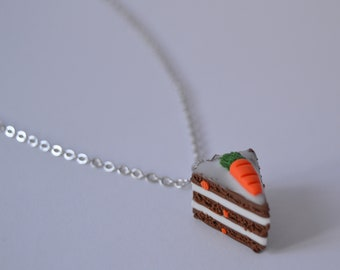 Carrot Cake Necklace. Silver Jewellery.  Carrot Necklace. Cake Necklace. Carrot Jewelry. Cake Jewelry. Polymer Clay Jewelry.