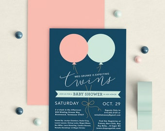 Twins baby shower invitation, Twins shower invitation, balloon baby shower invitation, balloon shower invitation, boy, girl, twins, balloons