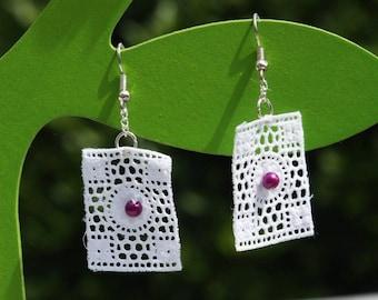 Thais earrings bobbin lace plum Pearl