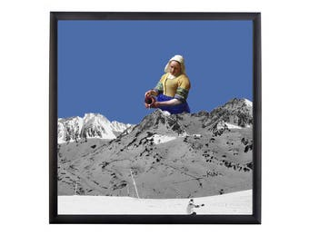 The mountain - side - milk - blue - Collage - Art background
