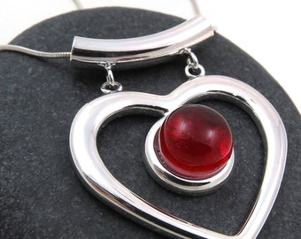 Red Heart Necklace - Fused Glass and Silver Necklace - Red Glass Necklace