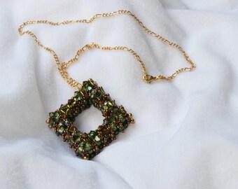 Olive Green Chunky Square Swarovski Crystal Pendant