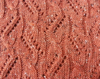 """Pattern to Knit Lace Scarf """"Between the Lace and Cables"""" PDF"""