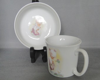 Vintage 1984 Preciuos Moments Childs Cup and Bowl Set by Enesco