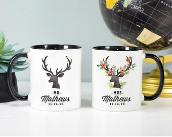 Mr and Mrs Mug Set, Wedding Gift Set, Bride and Groom Mugs, Newlywed Gift, Bride and Groom Gift, Rose Gold Rebel, Mr and Mrs Gift, Mr, Mrs