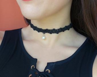 Pearl Choker Thin Black Velvet Choker Black Choker with Pearl pearl Black Choker, Velvet Choker, Plain Black Choker, Simple Black Choker