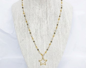 Open Star Pendant on Mixed Pyrite Chain